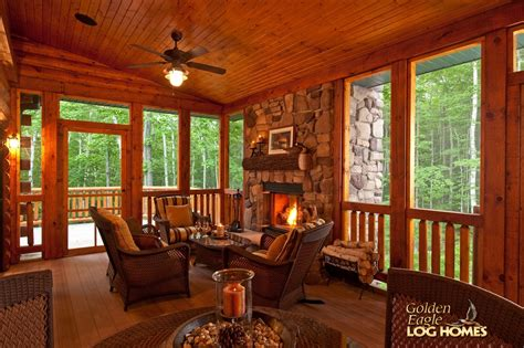 cabin floor plans with screened porch golden eagle log and timber homes log home cabin