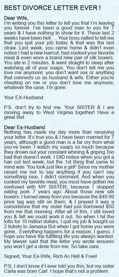 Greatest Divorce Letter 1000 Images About Karma Gets You Every Time On Karma Faith In Humanity Restored