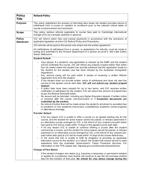sample refund policy templates  ms word