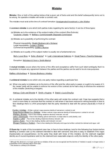 Study Notes Contract Law
