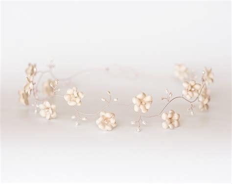 rose tiara 52 beige froral tiara wedding pearl tiara rose gold tiara