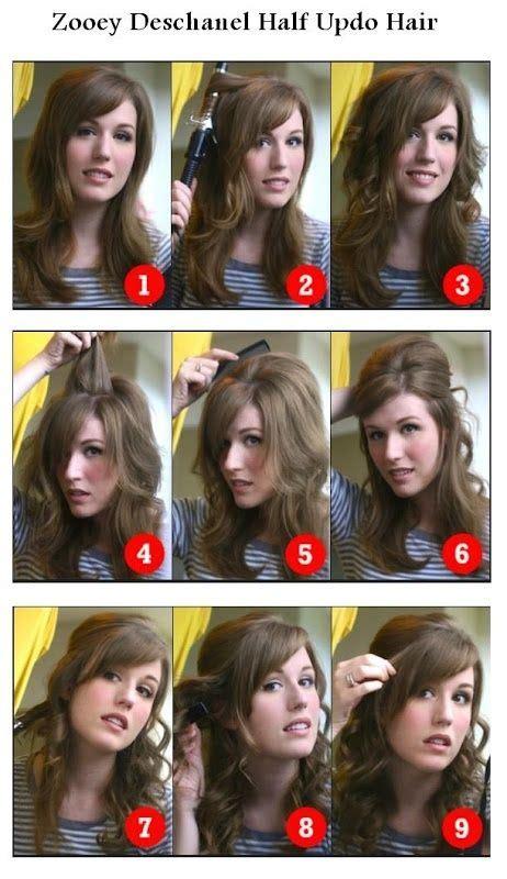 zooey deschanel updo hairstyles zooey deschanel half updo hairstyle hairstyles tutorial