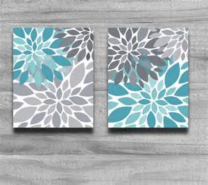 Turquoise Wall Decor by Sale Turquoise Gray Flower Burst Print Set By