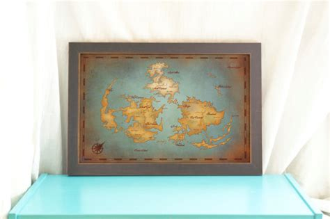 fantasy home decor final fantasy vii world map vintage style art print