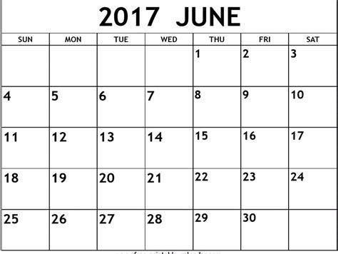 Calendar 2017 Template June