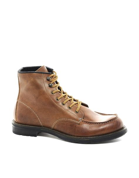 selected homme moc toe boots in brown for lyst