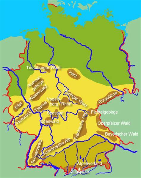 gebirgskarte deutschland karte fl 252 sse und gebirge deutschland