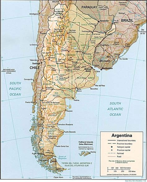 argentina political map large detailed relief and political map of argentina