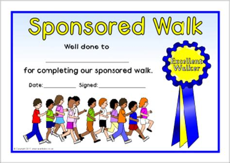 sponsored walk certificates sb5230 sparklebox