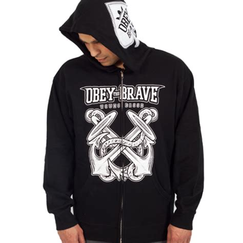 Sweaterhoodiezipper Obey 3 obey the brave quot anchor quot zip hoodie obey the brave