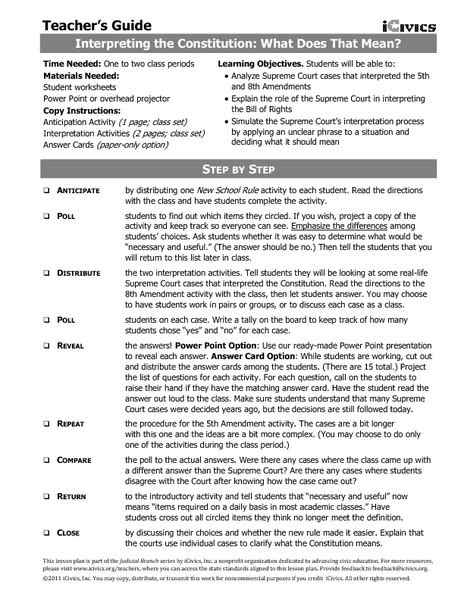 Interpreting The Bill Of Rights Worksheet by Interpreting The Bill Of Rights Worksheet Worksheets