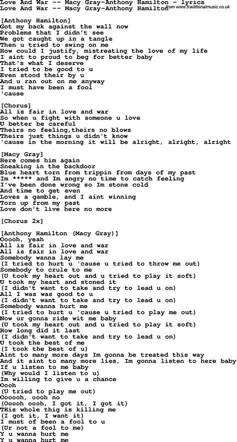 printable hamilton lyrics love song lyrics for love and war macy gray anthony