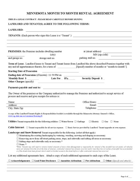 Residential Lease Agreement Mn Month To Month Rental Agreement Sle Guest Occupancy