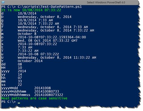 pattern of writing date powershell dates times and formats