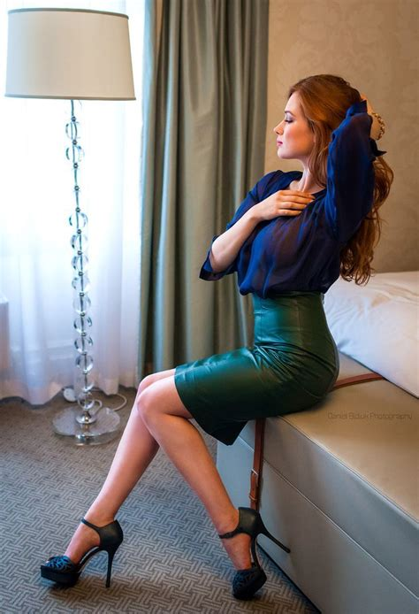 high waist green leather pencil skirt blue blouse and blue