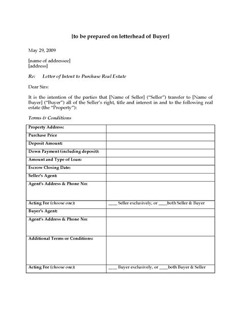 Letter Of Intent To Purchase Minerals usa letter of intent to purchase real estate forms