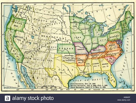 map of united states 1861 us map showing seceding states by date us civil war 1860