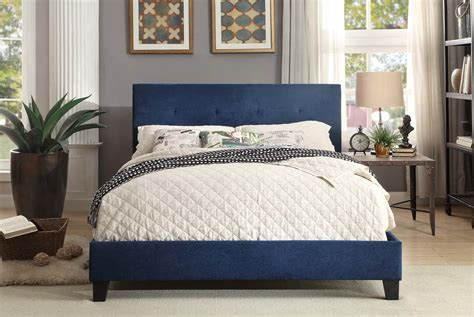 blue platform bed homelegance brice upholstered platform bed blue 1880bue 1
