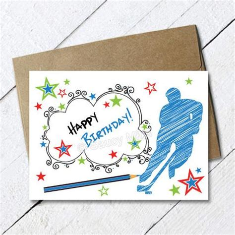 printable birthday cards hockey theme products saucy mitts hockey