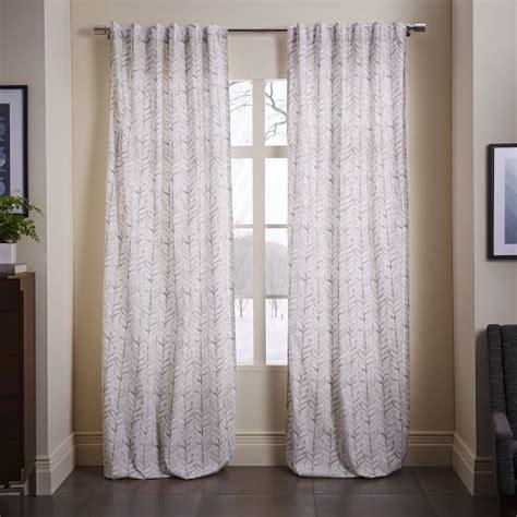 vine curtains cotton canvas vine leaves curtain frost gray west elm