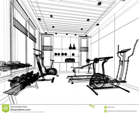 House Plans And Prices To Build Abstract Sketch Design Of Interior Fitness Room Stock