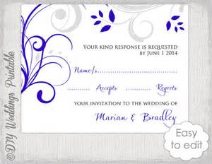 response card template diy royal blue silver gray quot scroll quot wedding rsvp card digital printable