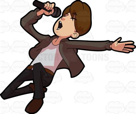 mp mucic a singer performing his most popular song cartoon clipart