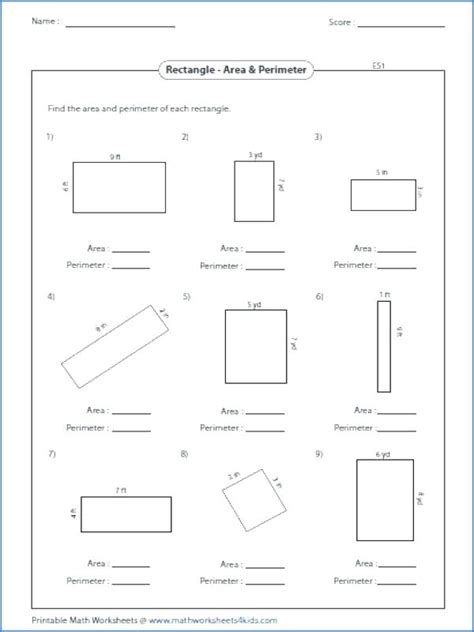 Area And Perimeter Word Problems Worksheets Pdf
