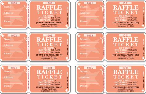 raffle tickets template free sle templates free formats excel word