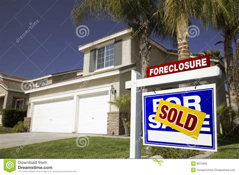 Blue House Realty by Blue Foreclosure For Sale Real Estate Sign And Hou Stock