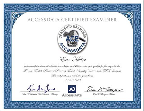 Or Certification Eric Miller Awarded Ace Computer Forensics Certification Forensicon