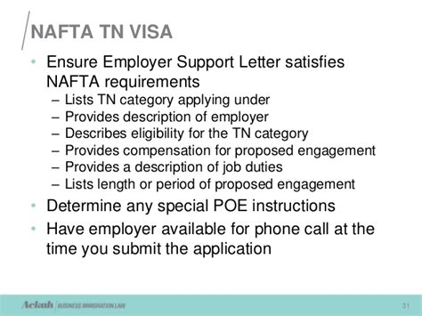 Employment Letter For Tn Visa nafta requirements for working in the u s presented by