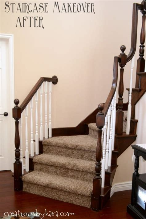 What Is A Banister On A Staircase Diy Staircase Makeover With Stain And Paint