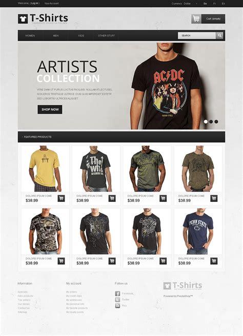 Artistic T Shirts Prestashop Theme Web Design Templates Website Templates Download Artistic T Shirt Website Template Free