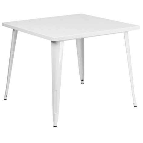 White Metal Patio Table 35 5 Square White Metal Indoor Outdoor Table Ch 51050 29 Wh Gg Restaurantfurniture4less