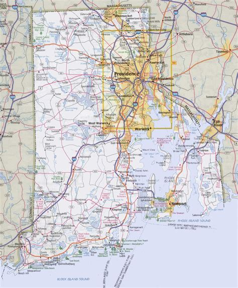 rhode island on map rhode island road map