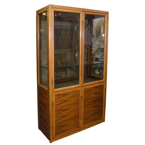 wood and glass display cabinet midcentury dunbar double door wood and glass display