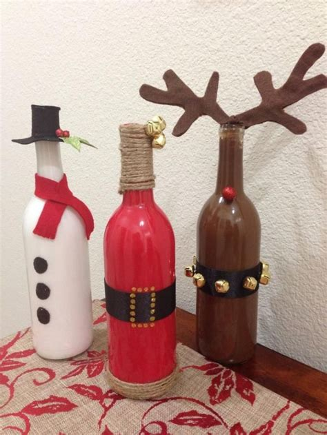 wine bottle painted christmas pinterest