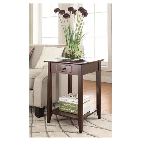 espresso end table with drawer heritage end table with drawer and shelf espresso