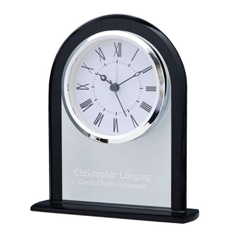 personalized clear black dome desk clock clocks