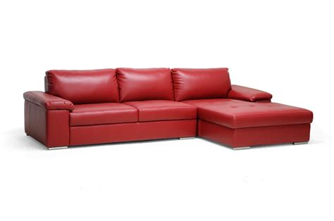 dawson sectional dawson bonded leather sectional in red simply austin