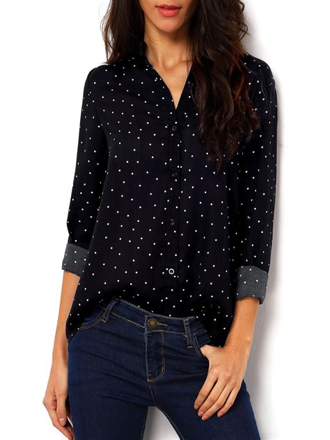 Blouse Atasan Polkadot polka dot spotted with buttons blouse shein sheinside
