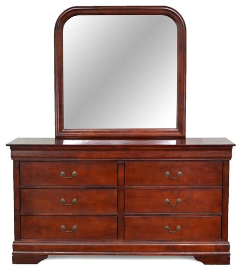louis philippe 6 drawer dresser and mirror cherry