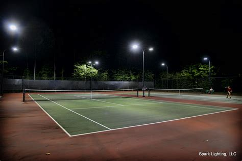 tennis courts with lights led tennis court lighting upgrade by spark lighting