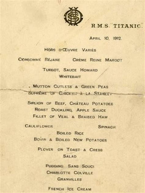 titanic first class menu titanic menu sells for 163 45 000 captain greybeard
