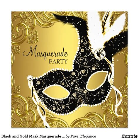 masquerade themed quinceanera invitations black and gold mask masquerade party card masquerade