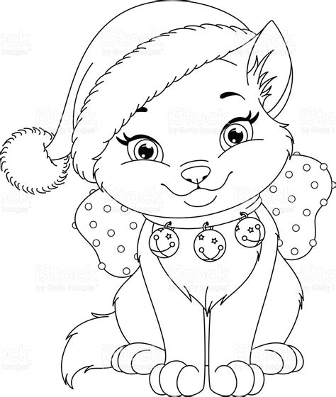 coloring pages christmas cats christmas cat coloring page stock vector art more images