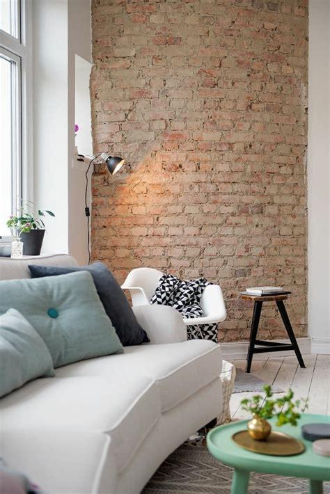 tapeten wohnzimmer ideen backstein tapete schicke rustikale akzente in der