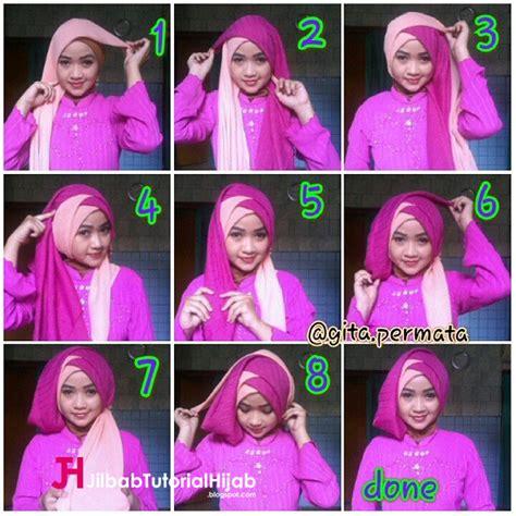tutorial hijab 2 kerudung untuk pesta tutorial hijab segi empat 2 warna untuk wisuda dan lebaran