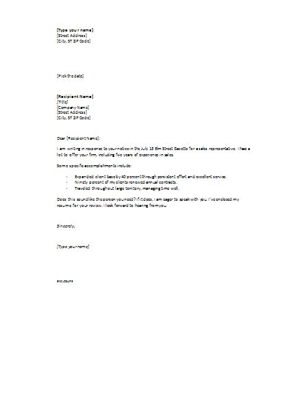 cover letter in response to ad short cover letters templates